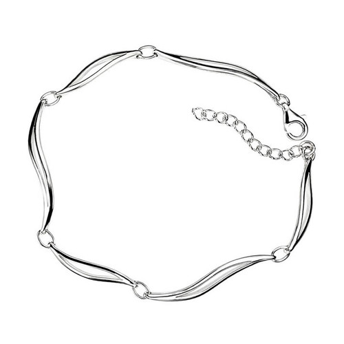 Sterling Silver Wave Linked Bracelet