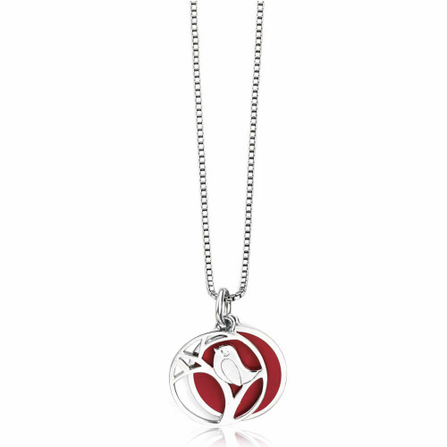 Children's Silver Diamond Robin Necklace
