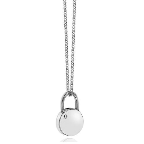 Love Locked Small Silver Round Padlock Necklace