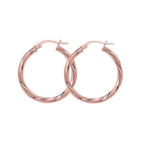 9ct Rose Gold Twist Hoop Earrings 20mm