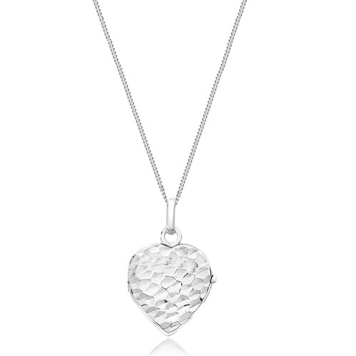 9ct White Gold Heart Hammered Locket