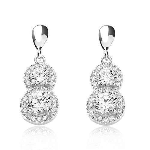 Silver Cubic Zirconia Halo Drop Earrings