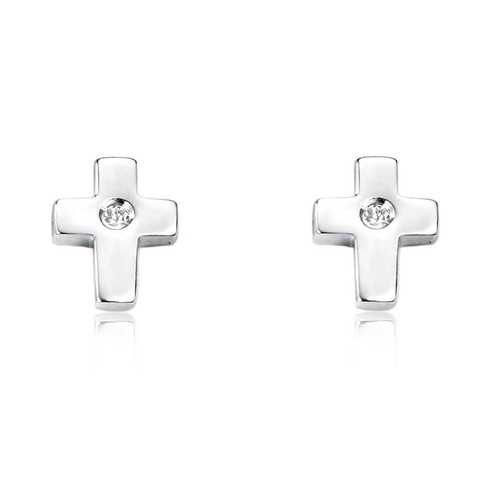 Children's Silver Diamond Cross Stud Earrings