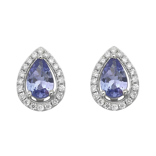 9ct White Gold Diamond & Tanzanite Halo Stud Earrings