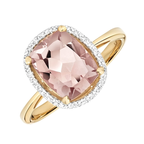 9ct Gold Morganite & Diamond Ring