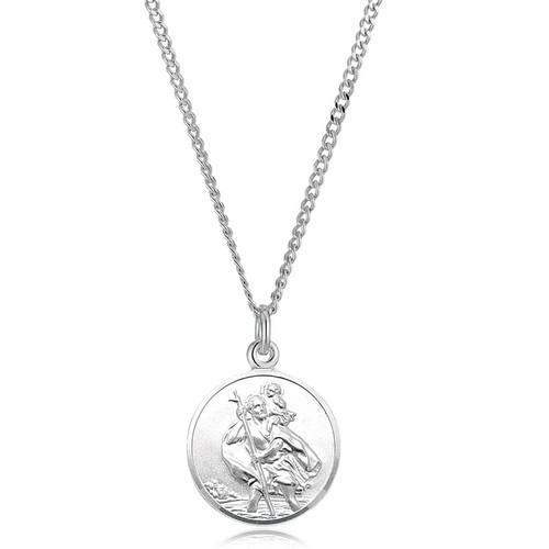 Men's Solid Silver St Christopher Pendant & Curb Chain