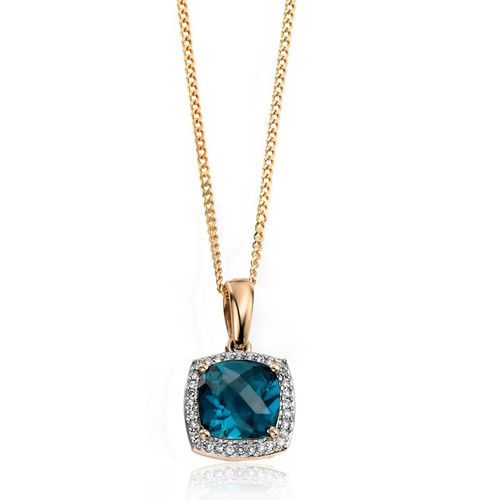 9ct Gold London Blue Topaz & Diamond Pendant