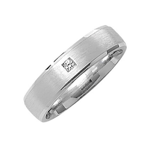 Sterling Silver Satin Court Wedding Ring 6mm 1