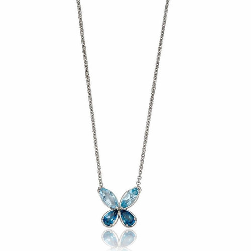9ct White Gold Blue Topaz Butterfly Necklace
