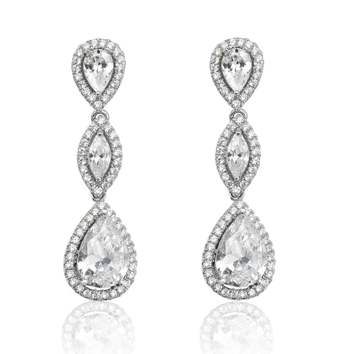 Luminous Silver Pear & Marquise Drop Earrings