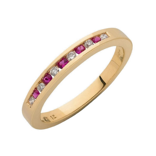 9ct Gold Diamond & Ruby Eternity Ring