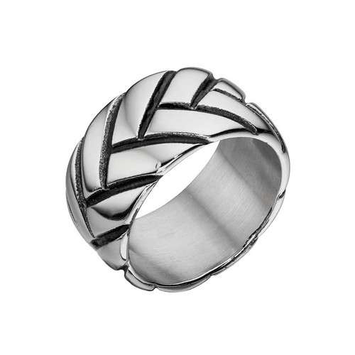 Men's Oxidized Tread Pattern Band Ring
