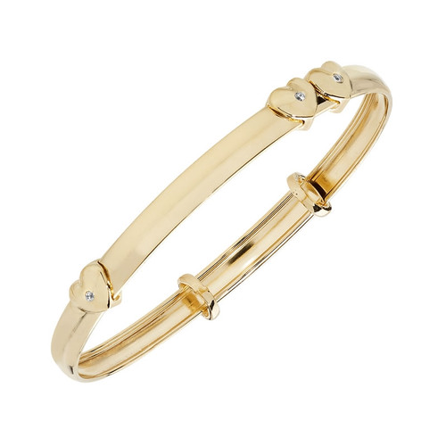 9ct Gold Expandable Heart Baby Bangle