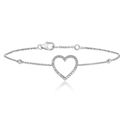 9ct White Gold Diamond Heart Station Bracelet