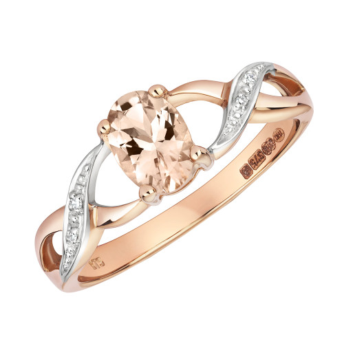 9ct Rose Gold Oval Morganite & Diamond Ring 2