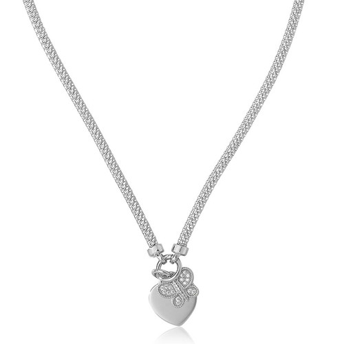 Sterling Silver Butterfly & Heart Mesh Necklace