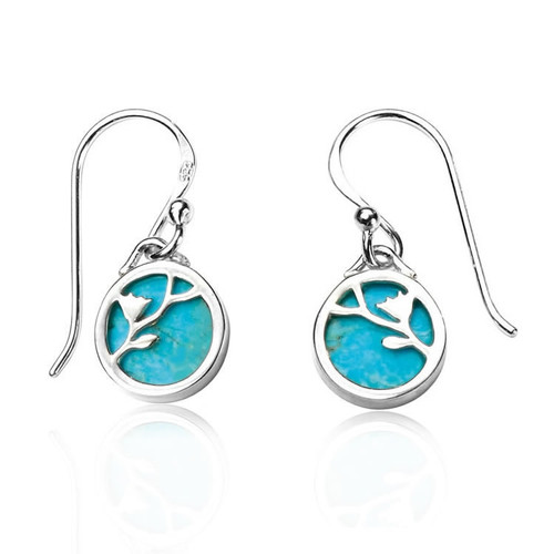 Silver Turquoise Vine Disc Earrings