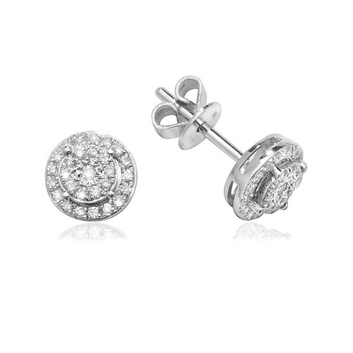 9ct White Gold 0.24ct Diamond Halo Cluster Stud Earrings