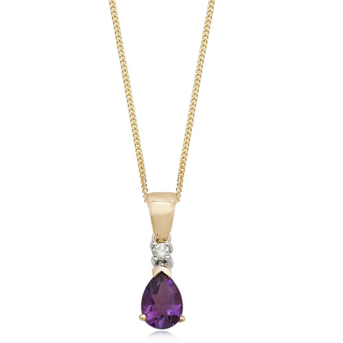 9ct Gold Pear Cut Amethyst & Diamond Pendant