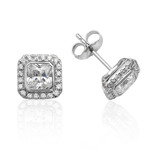 Luminous Silver Square Halo Stud Earrings