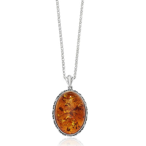 Sterling Silver Large Oval Amber Pendant