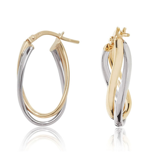 9ct Gold Two Colour Oval Twist Creole Hoop Earrings