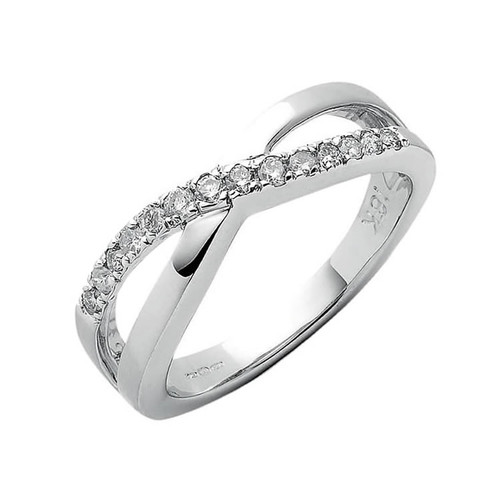18ct White Gold 0.25ct Diamond Crossover Ring