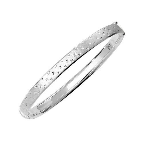Sterling Silver Frosted Diamond Cut Bangle