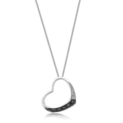 9ct White Gold Black Diamond Open Heart Necklace
