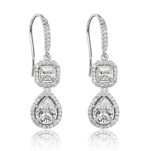 Luminous Silver Square & Pear-Cut Drop Earrings