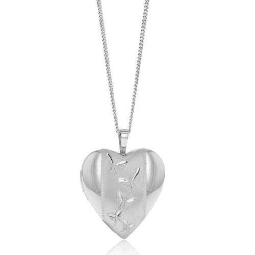 Silver Butterfly Heart Locket Necklace