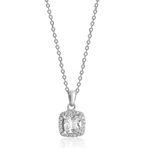Luminous Silver Cushion Cut Halo Pendant