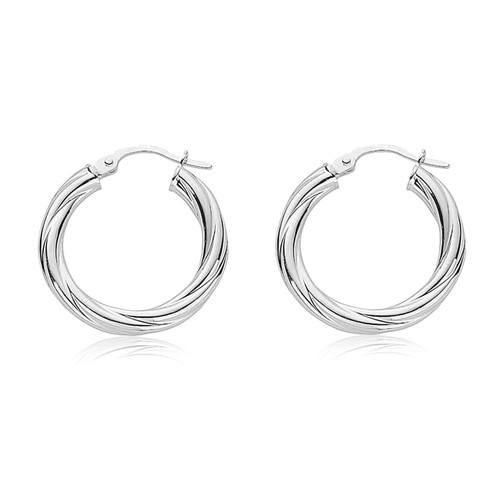 Sterling Silver Twist Hoop Earrings 20mm