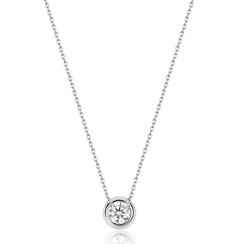 18ct White Gold 0.20ct Diamond Solitaire Necklace