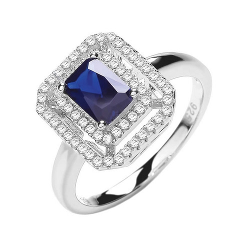 Silver Emerald Cut Sapphire Cubic Zirconia Halo Ring