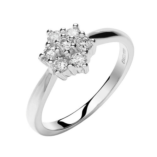 9ct White Gold 0.33ct Diamond Cluster Ring
