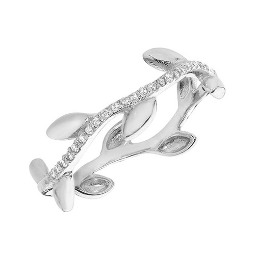 Silver Cubic Zirconia Olive Leaf Ring