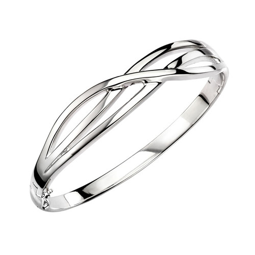 Sterling Silver Solid Crossover Weave Bangle