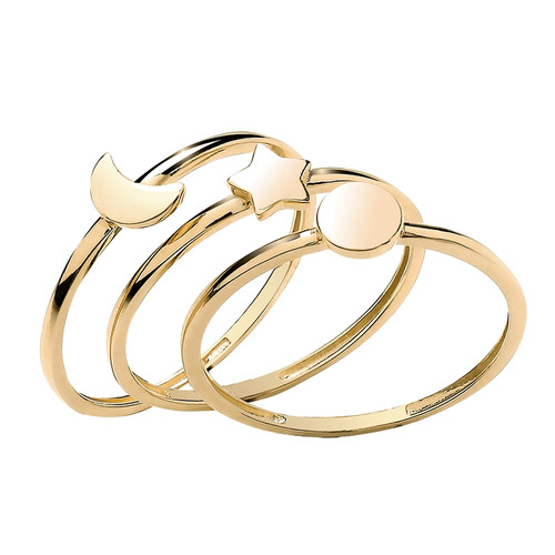 Theia Collection | 9ct Gold Sun, Moon & Star Stacking Ring Set