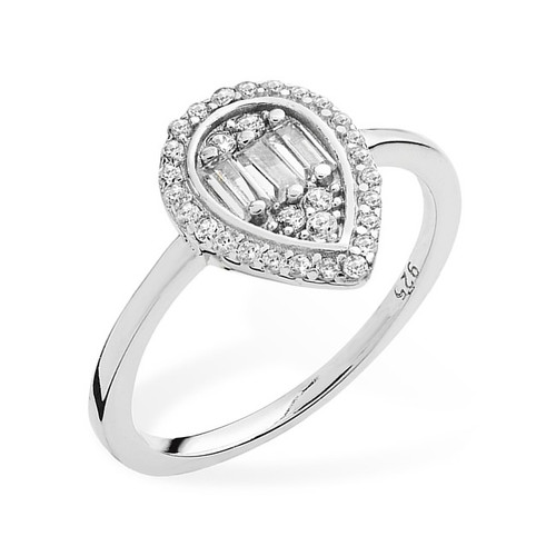 Silver Baguette-Cut Cubic Zirconia Pear Halo Ring