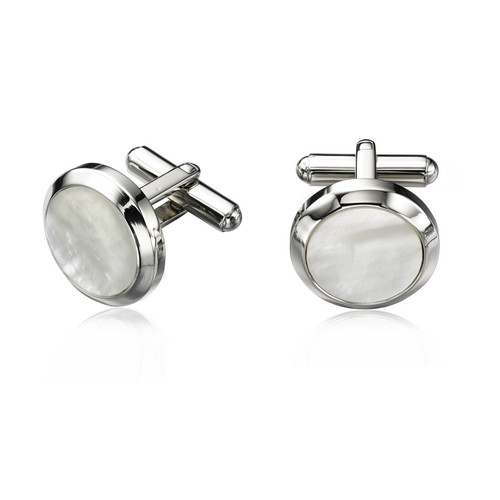 Men's Round Mother of Pearl Cufflinks
