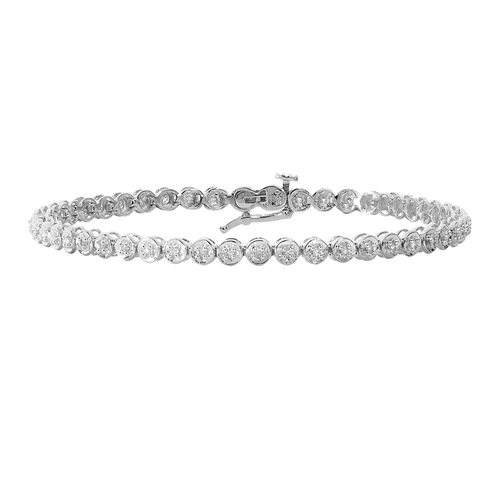 9ct White Gold 0.25ct Diamond Tennis Bracelet