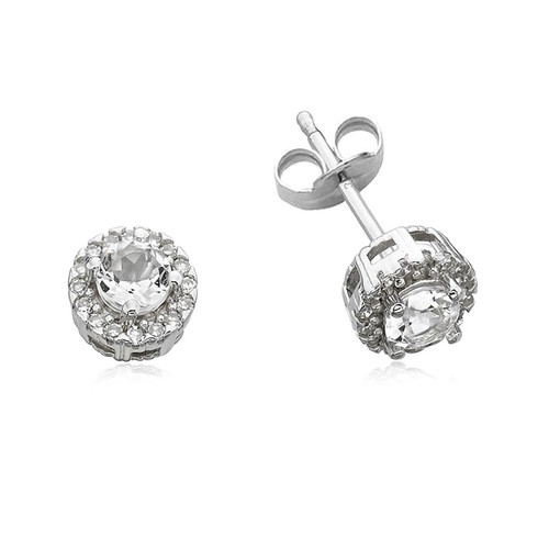 9ct White Gold Topaz & Diamond Halo Stud Earrings