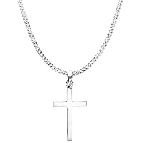 Men's Large Solid Silver Cross Pendant Necklace