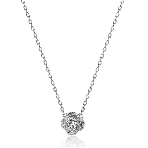 Silver Cubic Zirconia Knot Necklace