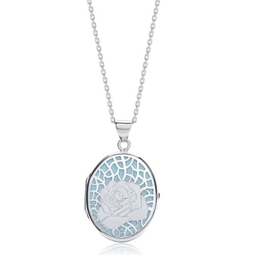 Sterling Silver Blue Oval Rose Locket