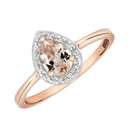 9ct Rose Gold Pear Morganite & Diamond Halo Ring