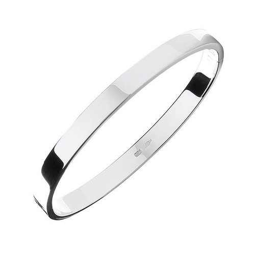 Sterling Silver Solid Oval Shaped Bangle