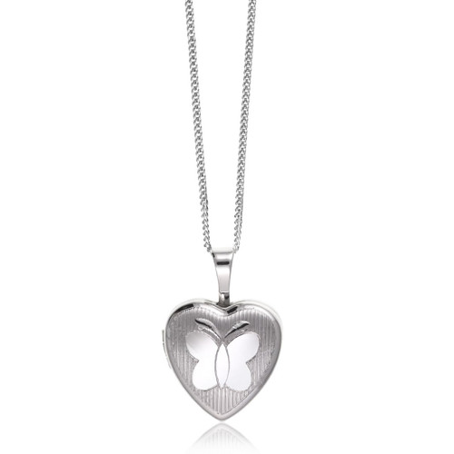 Children's Silver Butterfly Heart Locket