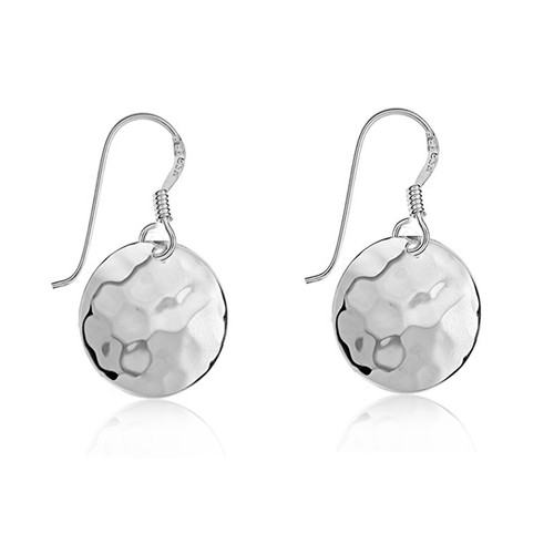 Sterling Silver Hammered Disc Drop Earrings